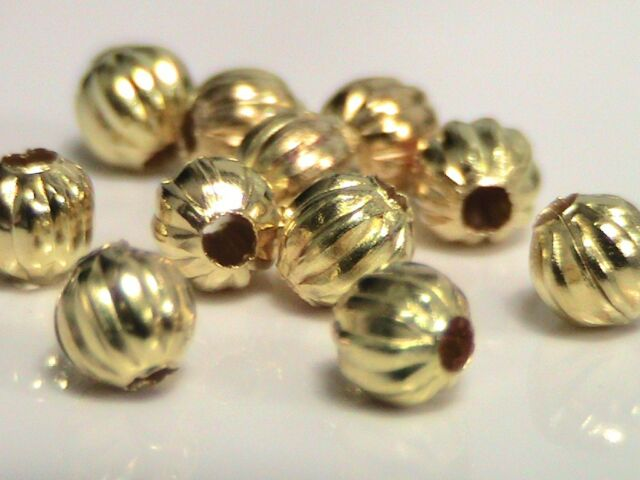 40 x 4mm Gold Plated Melon Spacer Beads Craft Findings Beading FREE UK P+P A60