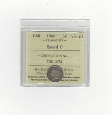 """**1900 Round """"0""""**, ICCS Graded Canadian,  5 Cent, **VF-20**"""