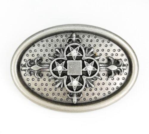 Vintage Silver Oval Crystal Star Cross Mens Womens Belt Buckle