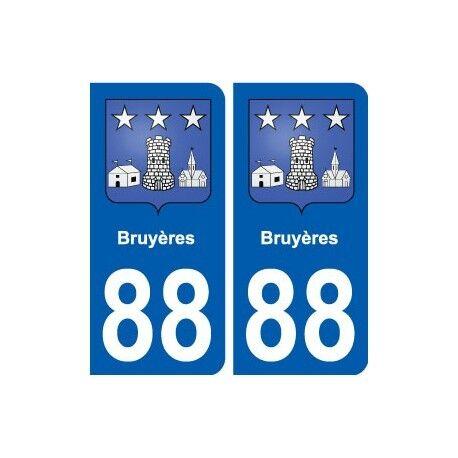 88 Bruyères blason autocollant plaque stickers ville arrondis