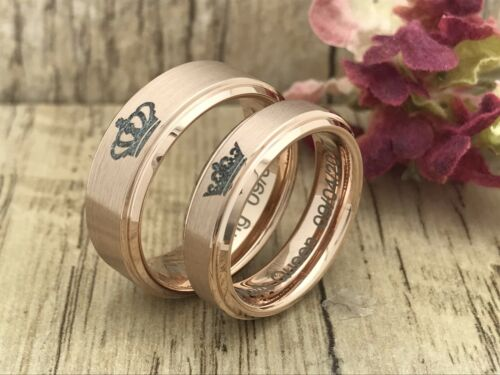 8mm//6mm King and Queen Tungsten Rings Personalized Anniversary Ring Sets