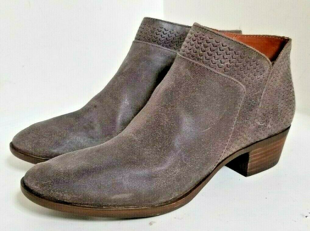 Lucky Brand Brintly Zipper Grey Storm Leather Ankle Boots Booties - SIZE 11