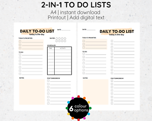 A4 To Do List Template Add Text Digital Download To-do List Printable PDF
