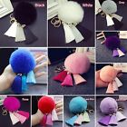 Tassel Rabbit Fur Ball Keychain Handbag Pom Pom Key Ring Car Cell Phone Pendant