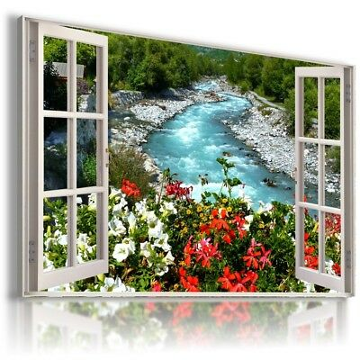 SPRING GREEN ROAD TREES 3D Window View Canvas Wall Art Picture W535 MATAGA .