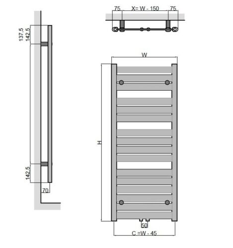 Design Badheizkörper Handtuchtrockner Heizkörper Anschlussgarnitur viele Größen
