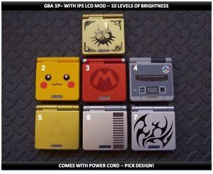 Nintendo Game Boy Advance GBA SP IPS MOD System 10 Level Brightness -Pick Design