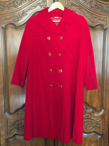 Red Velvet Double Breasted Overcoat Dress Coat 8