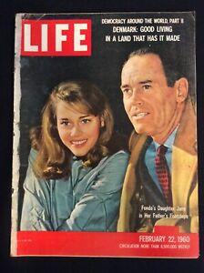 VINTAGE LIFE Magazine Feb 22, 1960  Henry & Jane Fonda, Denmark Good Life  M1794