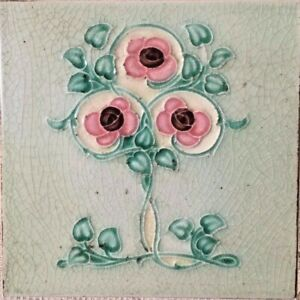 Collectible-england-vintage-rare-floral-antique-art-nouveau-majolica-tile-c1900