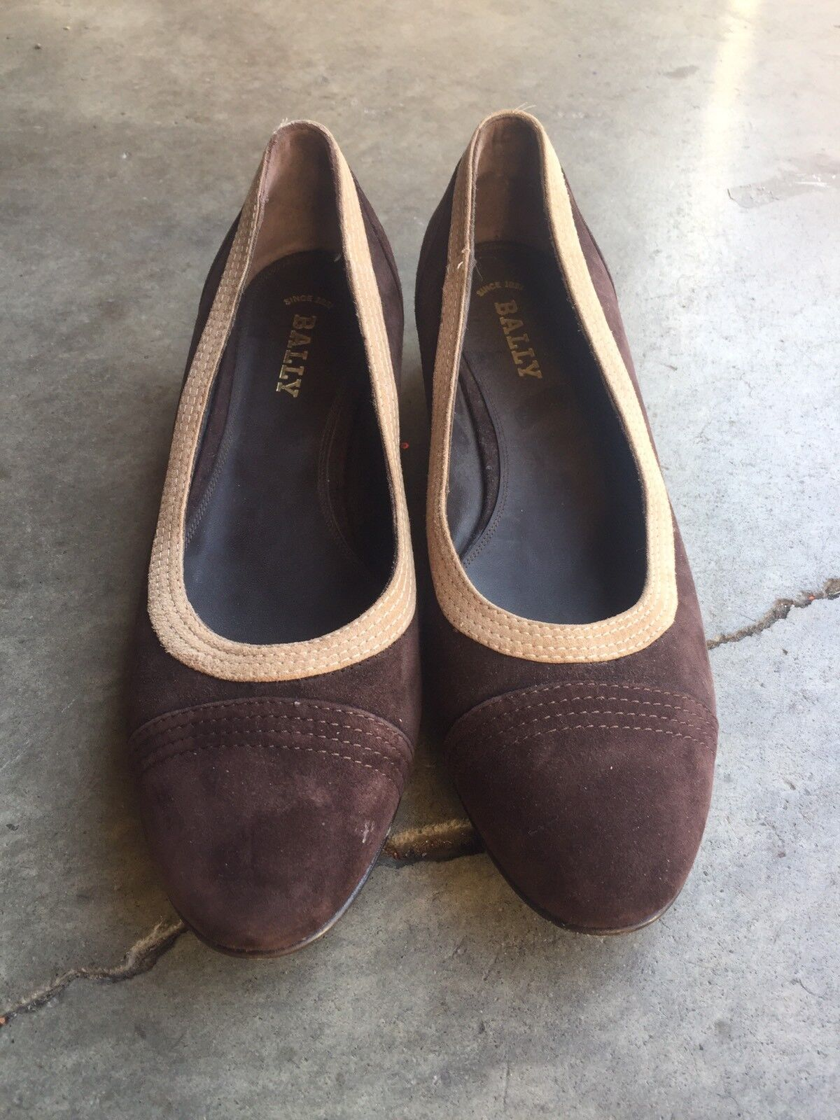 NWOB Bally sz Suede Leather Ballet Flats sz Bally 40 9.5 Brown 3db8c4