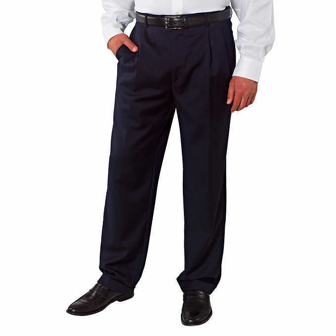 Kirkland Signature Men's Wool Pleated Dress Pants -  Navy Mini Plaid