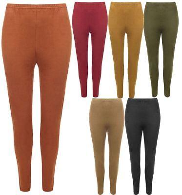 Ladies Elasticated Waist Plain Suede Look Legging Womens Plain Stretch Legging