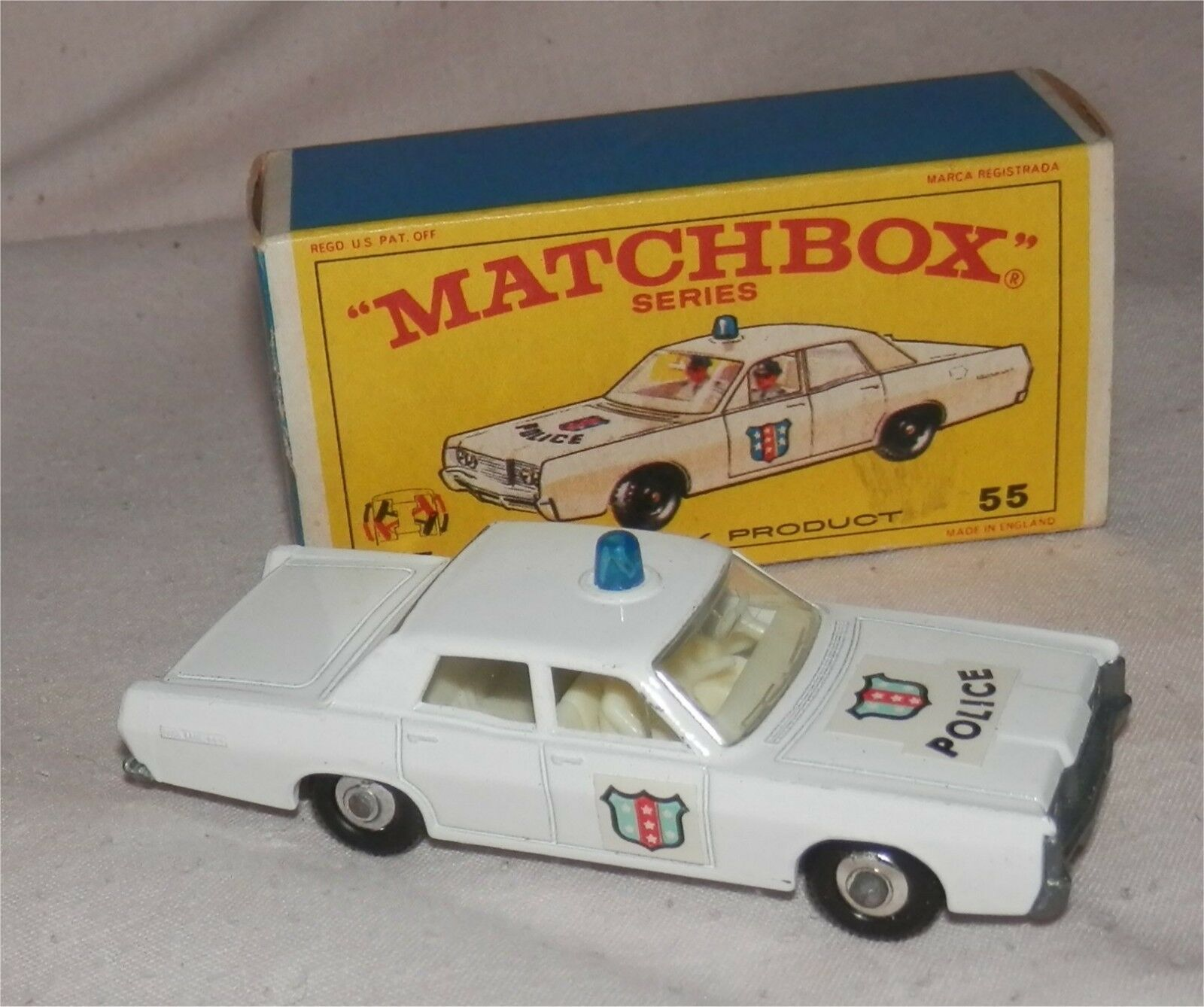 1960s.Matchbox.Lesney.55 'MERCURY POLICE CAR' Blau Light.Mint in box.Original