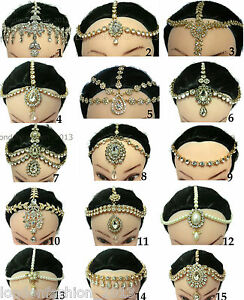 Diamante-Head-Chain-Matha-Patti-Head-Piece-Chain-Golden-or-Silver-Bridal-Wedding
