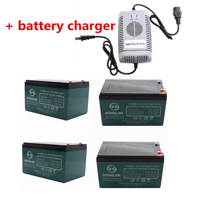 4 Pack of 6-DZM-12 12V 12AH Battery + Charger Electric Go Cart ATV Buggy Quad