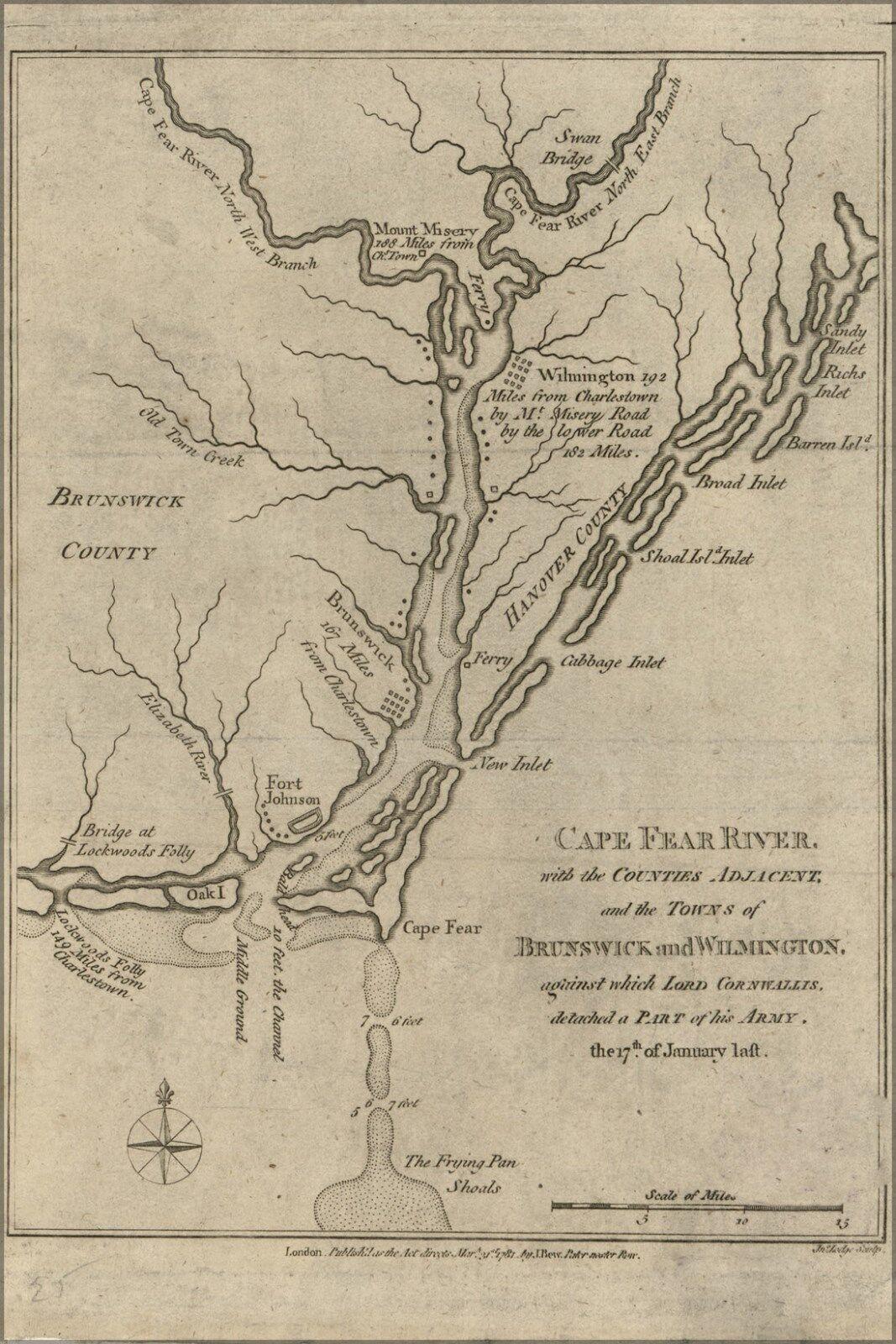 Poster, Many Größes; Map Of Cape Fear River North Carolina 1781