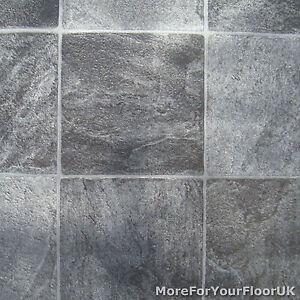 4m Wide Vinyl Flooring Grey Stone Tile Lino Non Slip Ebay