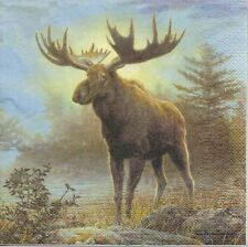 2 Serviettes en papier Paysage élan Elan Forêt Paper Napkins Moose Ashdene