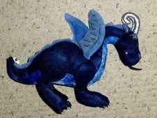 """MANHATTAN TOY JADE BLUE PLUSH DRAGON TEAL METALLIC SILVER HORNS 14""""L X 10""""H"""