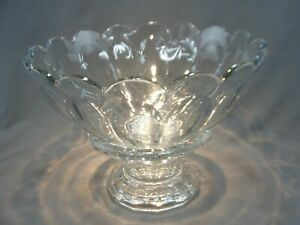 Vintage-HEISEY-GLASS-Punch-Bowl-Punchbowl-Colonial-Clear-Pattern-amp-Base-14-1-4-034-W