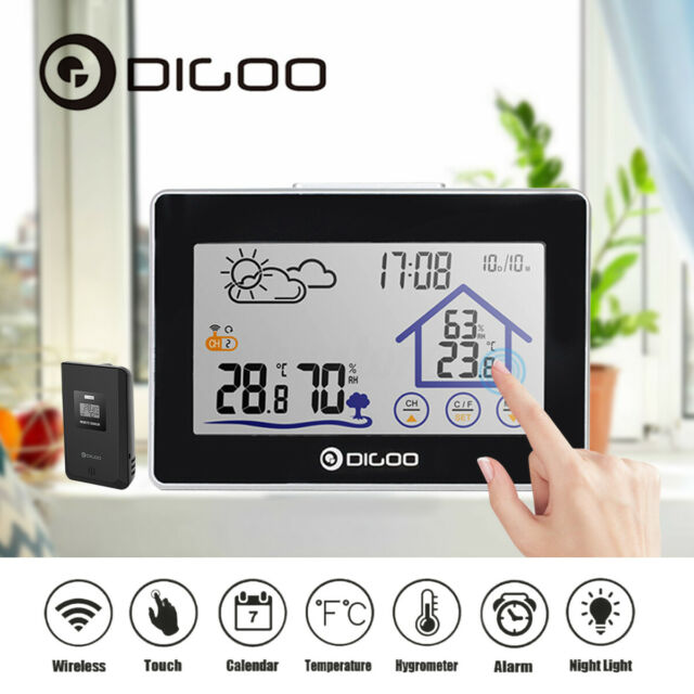 DIGOO Outdoor Touch Screen Wireless Weather Station Temperature Humidity Remote