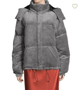NEW-KENDALL-KYLIE-GRAY-VELOUR-PUFFER-JACKET-S-335