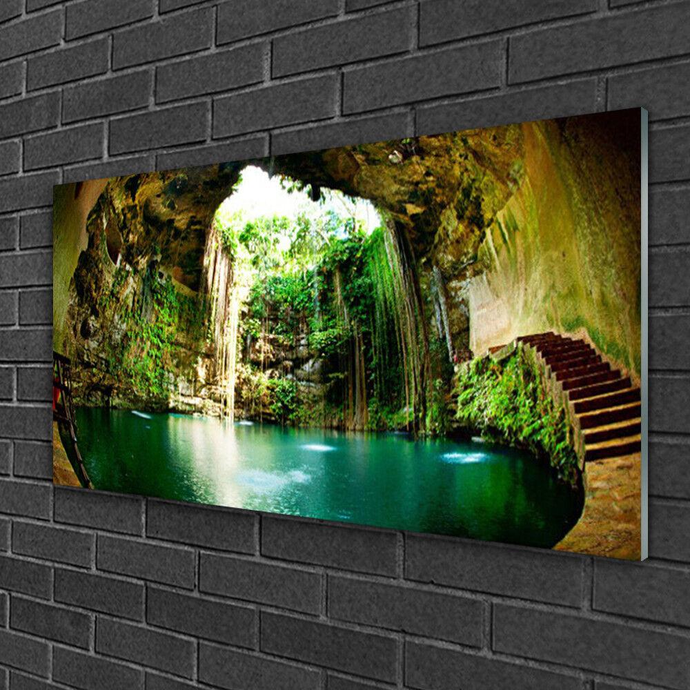 Tableau sur verre Image Impression 100x50 Paysage Cascade