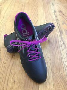 a288ef05447 Adidas Adizero Tour Golf Shoes Cleats 676160 Black Silver Purple ...