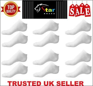 12 Pairs Men's Plain Trainer Socks Boot Ankle Footwear White Uk Size 6-11 KSBY