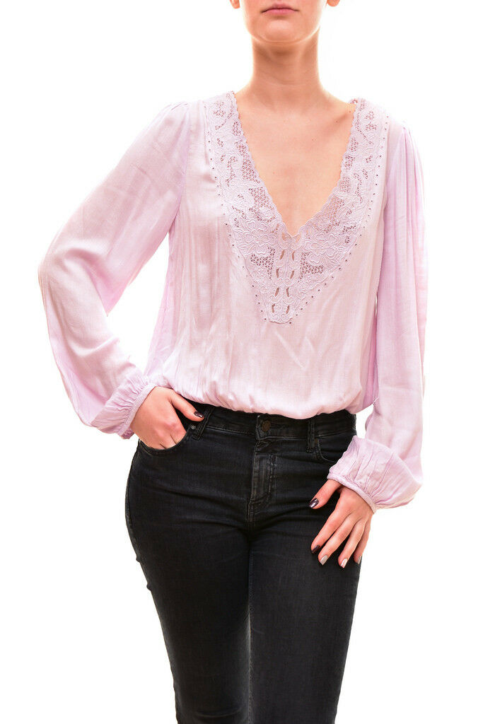 Free People Women's Authentic Long Sleeve Bodice Top Size XS Purple RRP BCF81