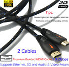 2PCS Premium 6FT HDMI Cable 1080P HD Gold Plated 3D High Speed 4K Audio Ethernet