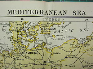 Map Of Spain And Greece.1919 Large Map Mediterranean Sea Spain Italy Sicily Yugo Slavia