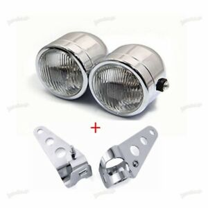 Twin-Dominator-Headlight-Motorcycle-Dual-Lamp-With-Mount-Bracket-Street-SCL