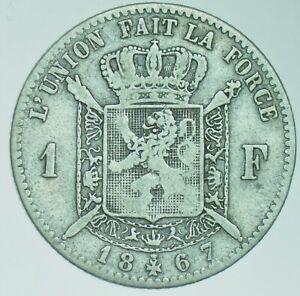 BELGIUM-LEOPOLD-II-FRANC-FRANK-1867-SILVER-COIN-aVF