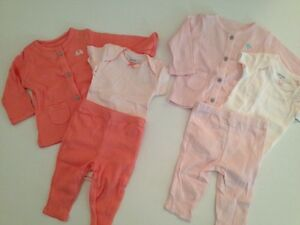 Carters Baby Girl Hoodie Cardigan Bodysuit Pants Size 3 6 9 Months Pink Layette
