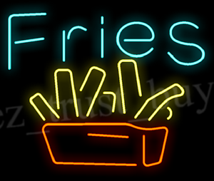 New fries fast food burger wall decor neon light sign 20x16 ebay image is loading new fries fast food burger wall decor neon aloadofball Images