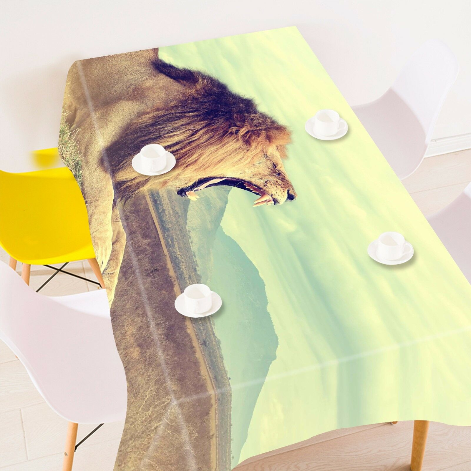 3D Yawned Lion 72 Tablecloth Table Cover Cloth Birthday Party Event AJ WALLPAPER