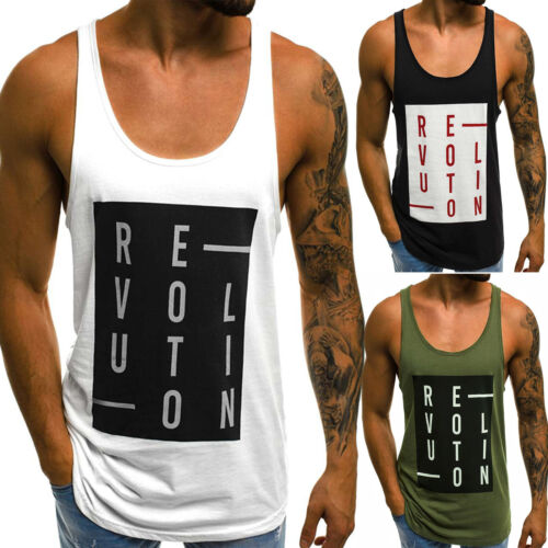 Mens Letter Print Gym Tee Vest Cotton Sleeveless Tank Tops Muscle T-Shirt Summer