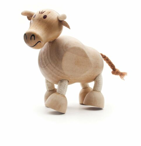 NEW AnamalZ Bull Poseable Wood Wooden Figure 10cm Preschool Steiner