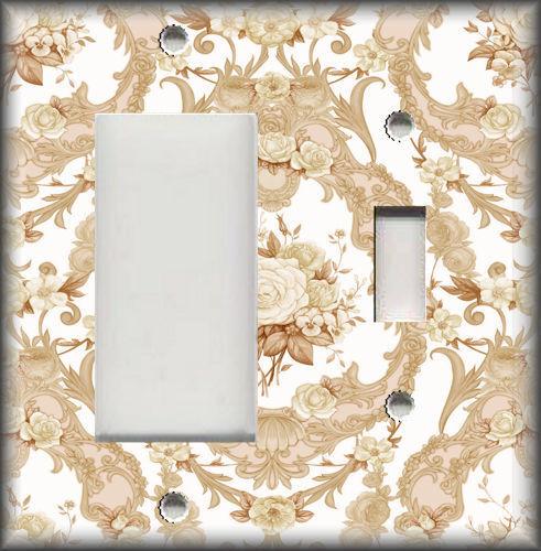 Dark Tan Light Switch Plate Cover Ornate Rose Damask Shabby Chic Decor
