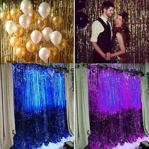 1M-Metallic-Tassel-Fringe-Curtain-Party-Foil-Tinsel-Home-Wedding-Room-Door-Decor