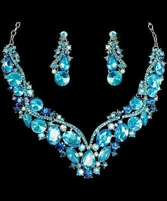 Dashing Aqua Blue Crystal Women Necklace & Earrings Set Silver Plated Fine Evening To Reduce Body Weight And Prolong Life Jewelry Sets Fashion Jewelry