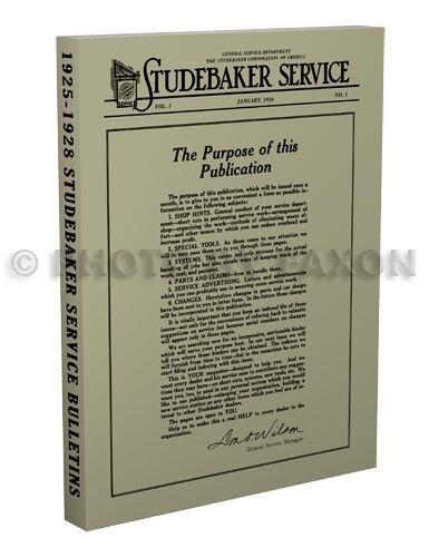 1925 1926 1927 1928 Studebaker Servizio Bulletins Manuale 6 And 8 Plus Erskine Avere Una Lunga Posizione Storica