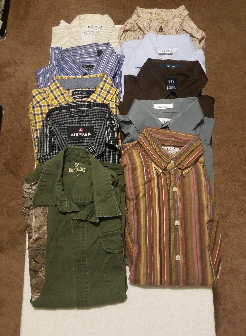 Lot of 10 Shirts Size Medium Mixed MARC ANTHONY COLUMBIA NAUTICA L\S
