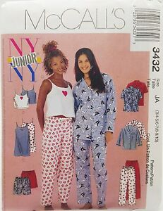 Girls-Pajama-Top-Pants-Shorts-Camisole-Gown-Pattern-3432-Size-3-4-5-6-7-8-9-10