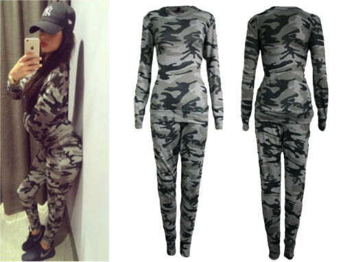 Womens Ladies Plus Size Army Camouflage Print Jogging Suit Tracksuit UK 8 TO 26