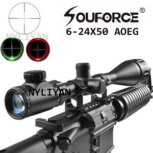 Illuminated-6-24x50AOEG-Red-Green-Mil-dot-Rifle-Scope-Sight-amp-20mm-Rail-Mount-Hunt