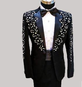 New Mens Dress Bridal Sequin Rhinestone 1 Button Blazer Coat Pant
