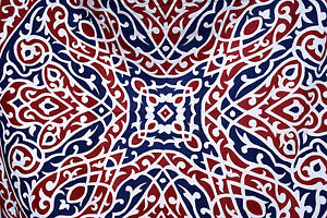 Hand Printed Red & Blue Bedouin Fabric from Egypt